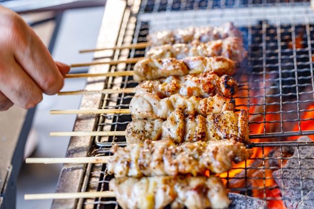 鎌倉花火大会の出店の串焼き