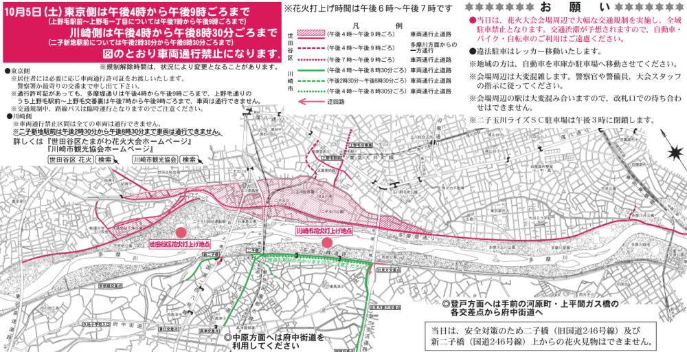 多摩川花火大会の交通規制図
