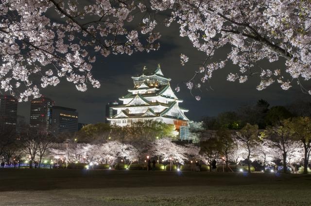 大阪城の夜のライトアップ