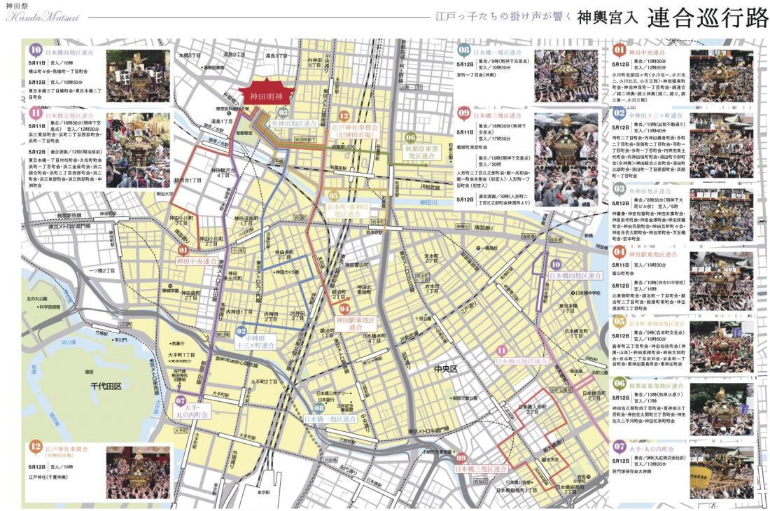 神輿宮入の巡行ルート図